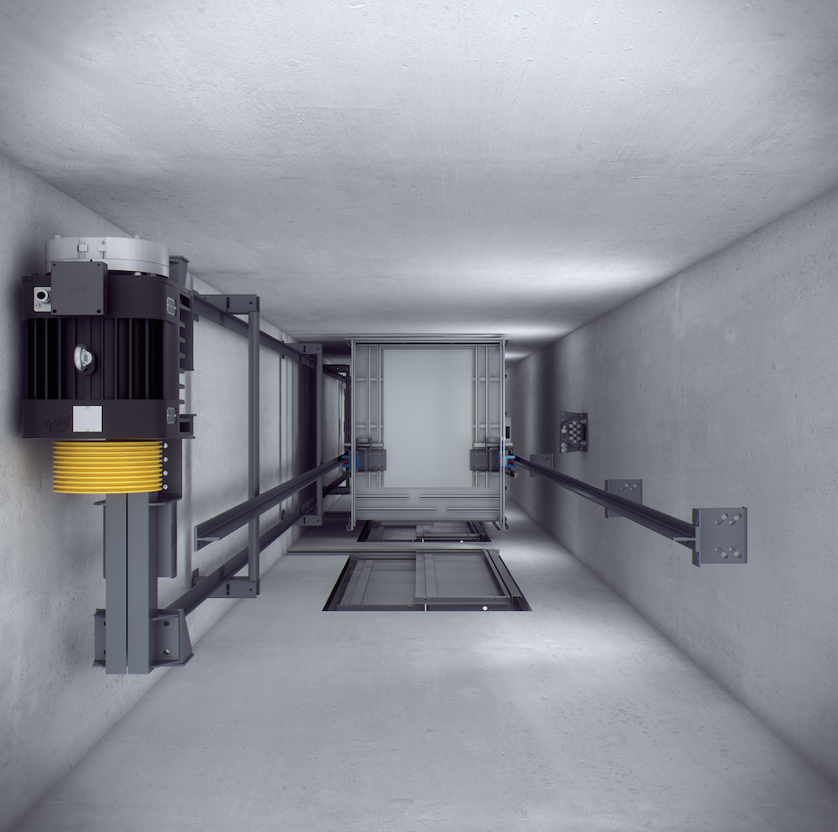 hueco ascensor maquina gearless