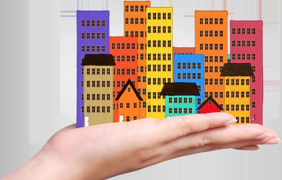 mano con edificios